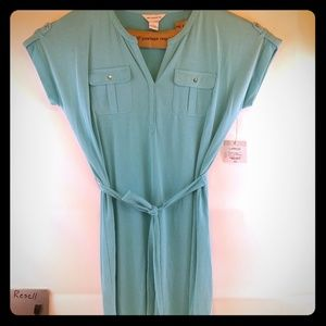 Liz Claiborne new size large teal dress with belt